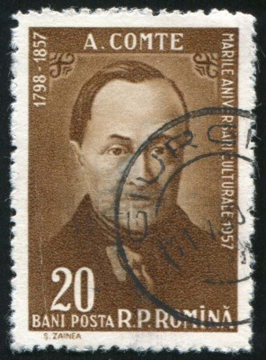 10071784-romania--circa-1957-stamp-printed-by-romania-show-auguste-comte-circa-1957