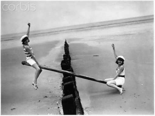 Women on a Seesaw on Littlehampton Beach, 1930