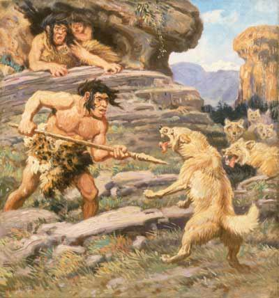 Neanderthal_Man_Defending_Family_Against_Wolves