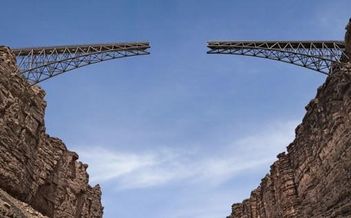 Unconnected bridge above the Colorado River